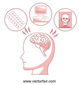white background with red color sections of silhouette profile human head with brain and elements health
