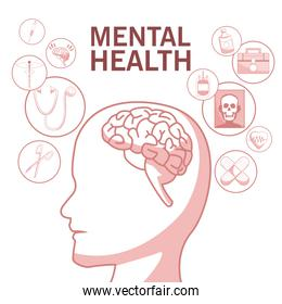 white background with red color sections of silhouette profile human head mental health with elements of healthcare