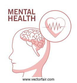 white background with red color sections of silhouette profile human head mental health with circular frame heartbeat