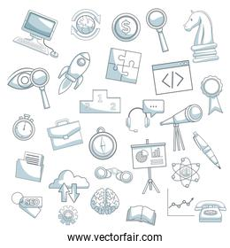 white background with silhouette color sections shading of icons business development