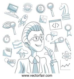 white background with silhouette color sections shading of executive man and icons business development