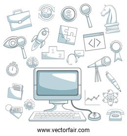 white background with silhouette color sections shading of desk computer and icons business development