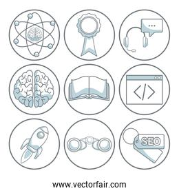 white background with silhouette color sections shading of circular frame of icons business development