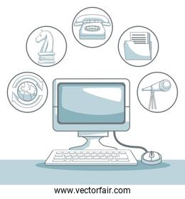 white background with silhouette color sections shading of desk computer with icons business development