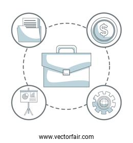 white background with silhouette color sections shading of portfolio with icons business development around