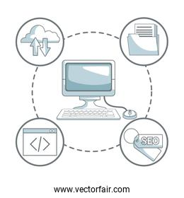 white background with silhouette color sections shading of desk computer and icons business development around