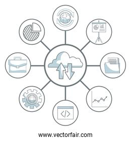 white background with silhouette color sections shading of cloud storage connected to icons business development