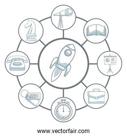 white background with silhouette color sections shading of rocket start up connected to icons business development