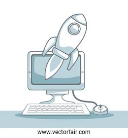white background with silhouette color sections shading of desk compuer with rocket business development