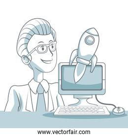 white background with silhouette color sections shading of closeup executive man and desk compuer with rocket business development