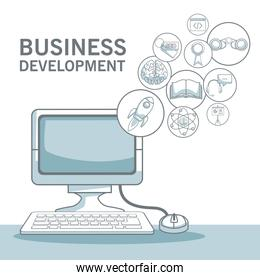 white background with silhouette color sections shading of desk computer with floating icons business development
