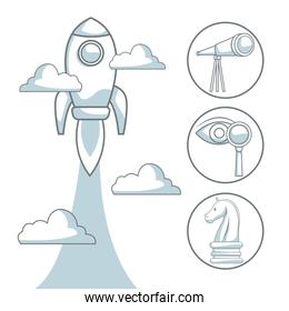 white background with silhouette color sections shading of rocket flying start up concept to business
