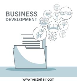 white background with silhouette color sections shading of folder documents with floating icons business development