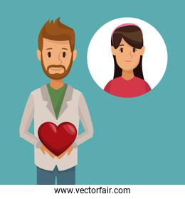 colorful poster half body bearded man holding a heart and icon with face woman