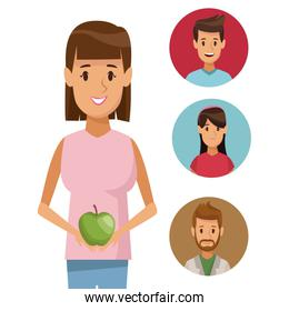 colorful poster half body woman with apple fruit and icon of set people