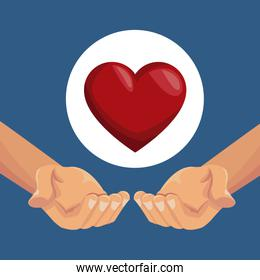 colorful poster closeup hands holding a heart in circular frame
