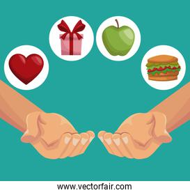colorful poster closeup hands holding a healthy food gifts