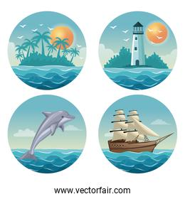 white background with colorful circular frames of set summer time ocean