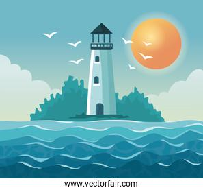 colorful poster seaside with lighthouse in coast with sun in the sky