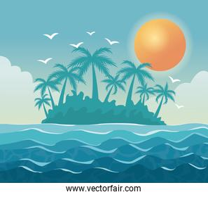 colorful poster sky landscape of palm trees on the beach with sun in the sky