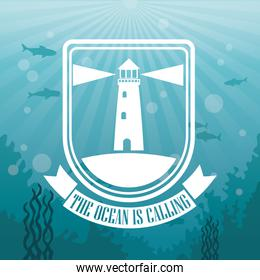 colorful background sea landscape underwater and logo the ocean is calling silhouette lighthouse