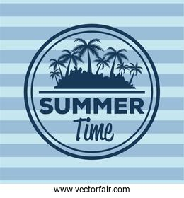 colorful stripe background with logo summer time and silhouette beach with palms