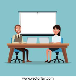 color background couple executives people sitting in desk front of laptop for work presentation