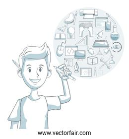white background with silhouette color sections shading of guy designer with elements graphic design