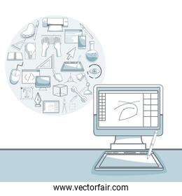 white background with silhouette color sections shading of desk computer with circular frame of elements graphic design