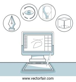 white background with silhouette color sections shading of desk computer with icons graphic design