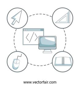 white background with silhouette color sections shading of display computer and window with icons graphic design around