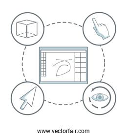 white background with silhouette color sections shading of window with drawing program and icons graphic design around