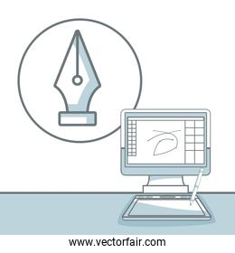 white background with silhouette color sections shading of desk computer with icon pen nib graphic design