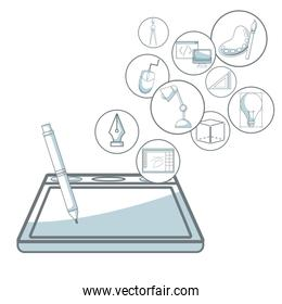 white background with silhouette color sections shading of digitizer with pen with floating icons graphic design