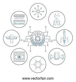 white background with silhouette color sections shading of brain with circuits and set icons tech futuristic objects