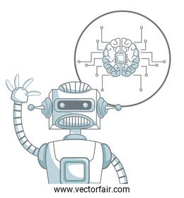 white background with silhouette color sections shading of closeup robot and icon brain with circuits