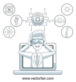 white background with silhouette color sections shading of man with virtual reality glasses leaving the laptop and icon elements futuristic