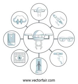 white background with silhouette color sections shading of drone in center connected of set elements futuristic in circular frame