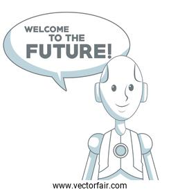 white background with silhouette color sections shading of human robot with dialogue box text welcome to the future