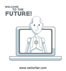 white background with silhouette color sections shading of human robot leaving to laptop and text welcome to the future