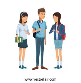 colorful women students standing and boy with briefcase side