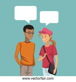 colorful scene half body couple students talking with dialog boxes boy brunette and blonded girl
