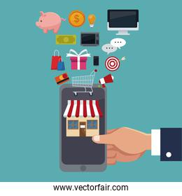 color background scene of executive sleeve hand holding a smartphone for online purchases with items floating