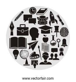 white background with circular frame with monochrome elements academic knowledge inside