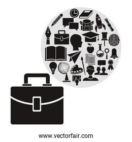 white background with portfolio and circular frame with monochrome elements academic knowledge inside