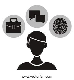 white background with monochrome half body person with circular frames elements academic knowledge inside
