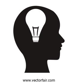white background with monochrome profile head human with light bulb inside