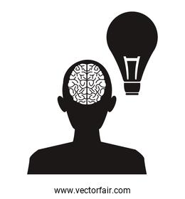 white background with monochrome profile head human brain with light bulb