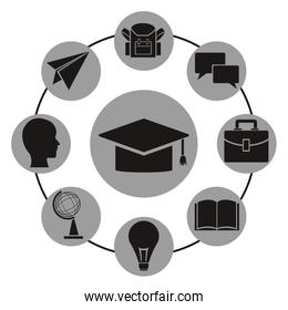white background with monochrome graduation cap with icons academic knowledge around