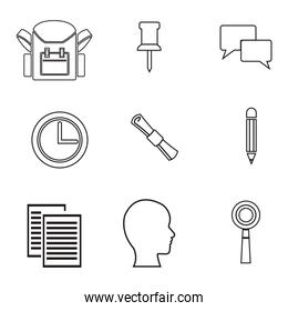 white background with sketch contour items sacademic knowledge